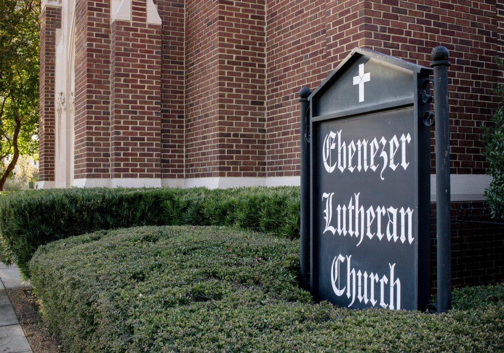 Welcome sign at Ebenezer Lutheran Church